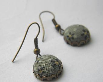Sage Daisies -  Fabric Covered Button Earrings.