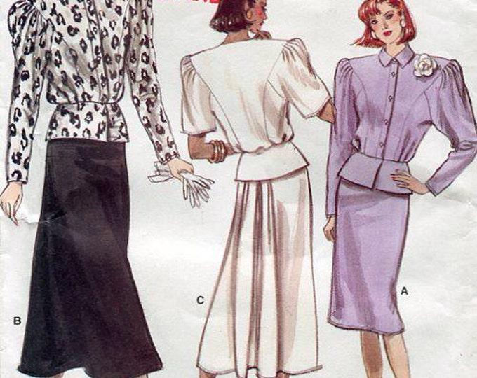 FREE US SHIP Vintage 80's Peplum Top Bustle Skirt Sewing Pattern Vogue 7011 Wide Shoulder Mock Front Band Size 8 10 12 Bust 31 32 34