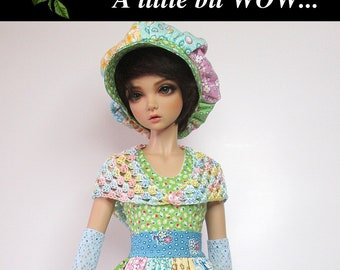 """ooak  set for Iplehouse JID resin BJD, MSD.  """"Patchwork Perfection"""" outfit. Hand-pieced & sewn.  Shoes included! 8 pieces in all."""