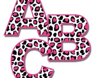leopard print letters clipart hot pink printable safari animal rh etsy com leopard print bow clipart