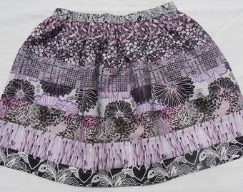 Gathered girl's skirt, ruffled girls skirt, purple layered skirt, purple and grey print cotton skirt, ready to ship