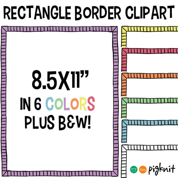 Rectangle Border ClipArt Doodle Simple Clipart Frame Clip Art Scrapbook Page From PigknitClipArt On