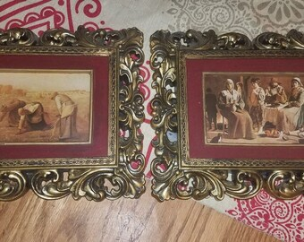 The Gleaners! Lovely Vintage Pair Of GOLD SYROCO Framed Prints~