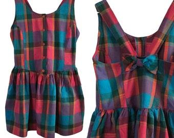 80s Rainbow Plaid Cotton Dress