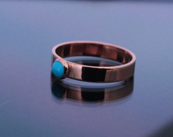 Copper and Turquoise Ring | Copper Turquoise Ring | Sleeping Beauty Turquoise Ring | Copper Ring | 4mm Copper Ring