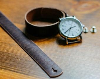 Leather watch strap for Timex Weekender - Horween Dark Nut Dublin