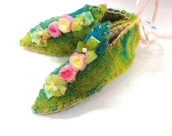 OOAK handmade felt, decorative miniature shoes, with optional ribbon for hanging