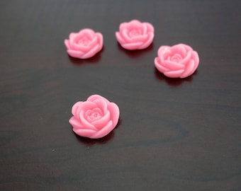 Set of 4 pink cabochons in colors pink