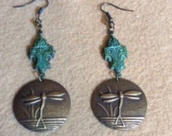 Dragon Fly Disc Dangle Earrings