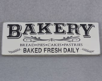 Distressed Bakery Fresh Baked Daily Rustic Wood Sign, Farmhouse Style Kitchen, Neutral Gray Accents