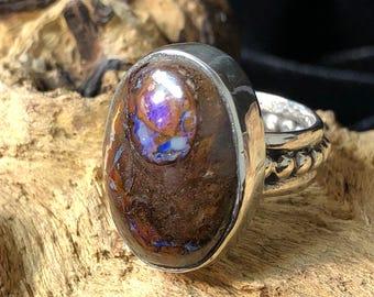 Sterling Silver &  Boulder Opal Statement Ring Size 6 - 6.25