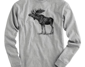 Moose Tee - Long Sleeve T-shirt - Men S M L XL 2x 3x 4x - Elk Shirt, Antlers Shirt, Animal Shirt, Vintage Shirt, Nature Shirt, Alaska Shirt