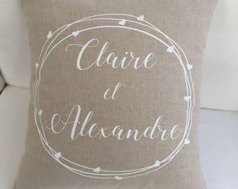 Customizable linen cushion, wedding