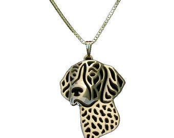 Dog Necklace Pendant with Chain (Gold color) Weimaraner German Pointer Labrador