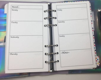 Personal Planner Size Inserts- Horizontal week on 2 pages