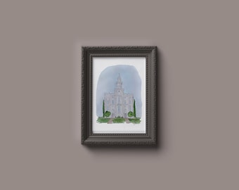 St George LDS Watercolor Temple Print