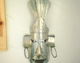 Vintage Mexican Folk Art Tin Mask Hojalata Metal Wall Art Tiki-Vibe