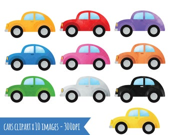 Cars Clipart - Watercolor Automobiles Download - PNG 300dpi Download - Multicolored Vehicles
