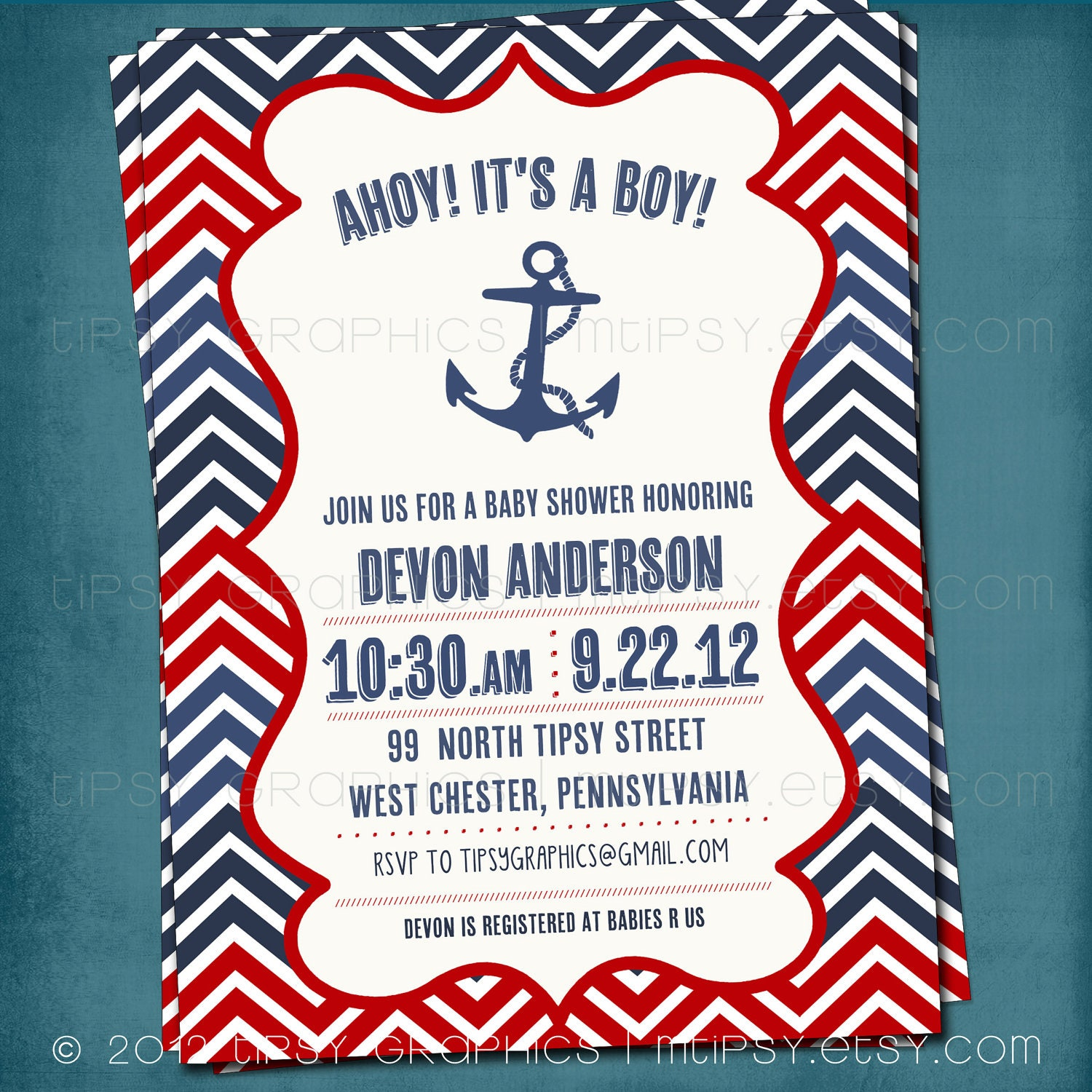 Chevron Nautical Baby Shower or Birthday Invite by Tipsy
