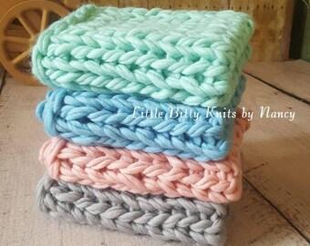Newborn Photo Prop, Layering Blanket,  Ready to Ship, Basket Stuffer,  Knitted Blanket, Basket Filler, Knitted Blanket