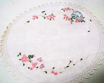 "Vintage 19"" Round Embroidered  Crochet Edge Cherry Blossom  Blue Bird #40"
