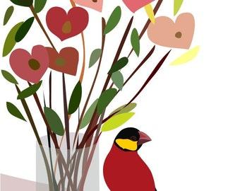 Red Heart Art Print - Just a bunch of love -bird art,Heart art,Love art print,Anniversary Gift,Love poster,Wedding gift,Office Bedroom Decor