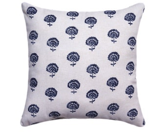 Indigo and Tan Hand Block Print Decorative Designer Pillow Cover, Accent Cushion Cover, Boho Style, Navy blue, Natural Cream Floral Pillow