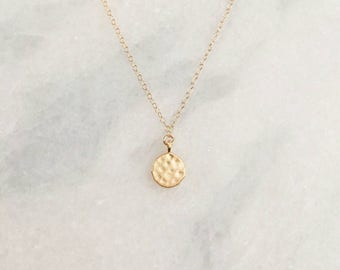 Tiny 14k Gold Filled Hammered Disc Dainty Necklace