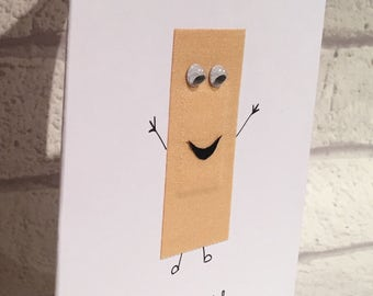 Get well soon card, plaster card, funny get well soon card, poorly card, illness card, greetings card, empathy card