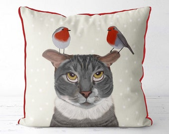 Christmas cushion cover christmas cat pillow - Cat with Robins - grey cat gift for cat lover cat home decor cat cushion christmas robins