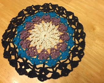 "Crocheted Mandala Doily/center piece 11"""