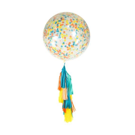 """36"""" Retro Carousel Balloon, Giant Clear Balloon, Confetti Balloon, Tassel Balloon, First Birthday Baby Shower Summer Balloon, Multi Colored"""
