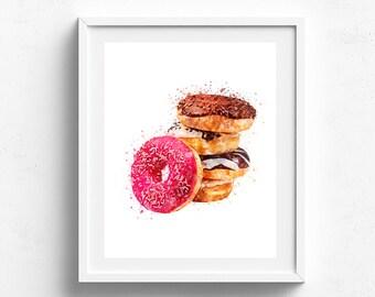 Donut poster, donut art, kitchen art, food art, donut painting, kitchen wall art, bakery art, donut watercolor, pink donut art, foodie art