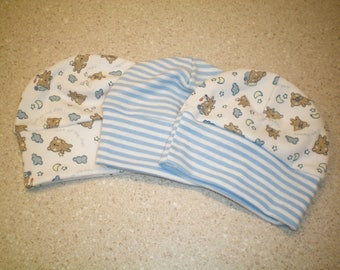Sleepy Bear and Blue/White Striped Baby Hats - Set of 3