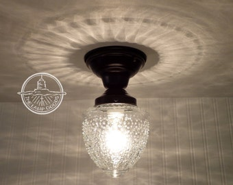 Island Falls. Glass CEILING LIGHT - Clear Globe Flush Mount Lighting Fixture Chandelier Pendant Farmhouse Fixture Fan Kitchen by LampGoods