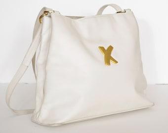 Paloma Picasso 1980s Vintage White Genuine Leather Adjustable Strap Purse
