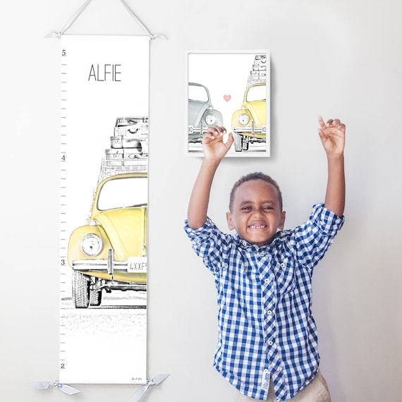 VW Beetle/Bug canvas growth chart in yellow