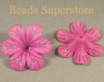 FINAL SALE 33 mm x 8 mm Magenta Lucite Flower Bead - 8 pcs