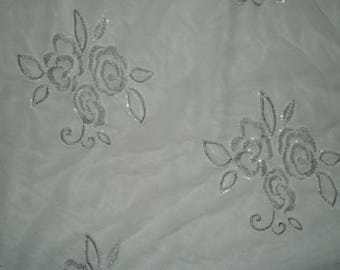 Floral Embroidered Sequin #196 All Over White Mesh Apparel Fabric By The Half Yard