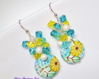 Sunflowers, Yellow, Aqua, White and Green Polymer Clay Floral Charm Earrings, Summer Floral Drop Earrings