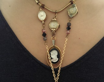 3 Watches & Cameo Gold Tone Necklace