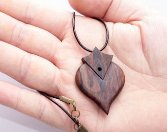 morado wood necklace, exotique wood, handmade jewelry, wood jewel, wooden necklace, heart necklace, wooden jewelry, natural necklace
