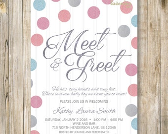 TWINS MEET and GREET Invitation, Meet N Greet Invites, Meet the Babies, Sip & See, Twin Babies Shower, Twins Shower Open House, Blue N Pink