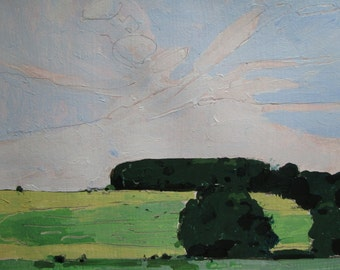 Old Stand, Original Landscape Painting on Paper, Stooshinoff
