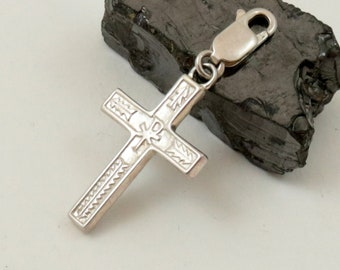 Vintage 925 Sterling Silver Clip On Cross Charm Pendant with Lobster Clasp