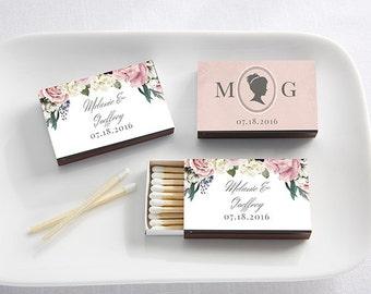 Wedding Favors - Set of 50 Wedding Matches with Personalized English Garden Design - Match Box Wedding Favors (28257-EG)