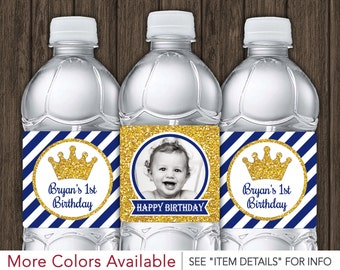 Prince Water Bottle Labels - Printable Royal Blue and Gold Birthday Party Decorations - DIY Digital File