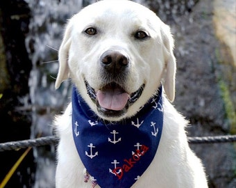 Personalized Anchors Dog Bandana |•| Reversible Navy White Nautical Custom Pet Scarf |•| Best Personalized Gifts by Three Spoiled Dogs
