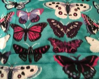 Butterflies on Teal Fleece Cat or Dog Bed