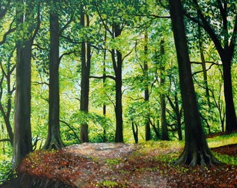 """Magical Summer Woods , Print 8 x 10"""" forest, landscape painting, stream"""